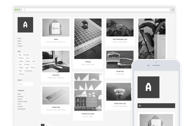 Althea WordPress theme. Black and white WordPress theme that show colors on on mouse over