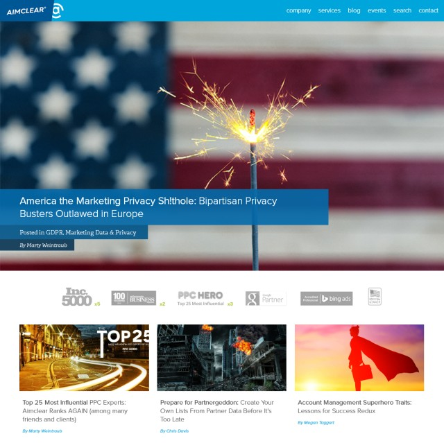 Screen shot of the Aimclear Blog. It shows one huge image (of the American flag) on top as the background image and teaser for the latest post and three smaller thumbnails below.