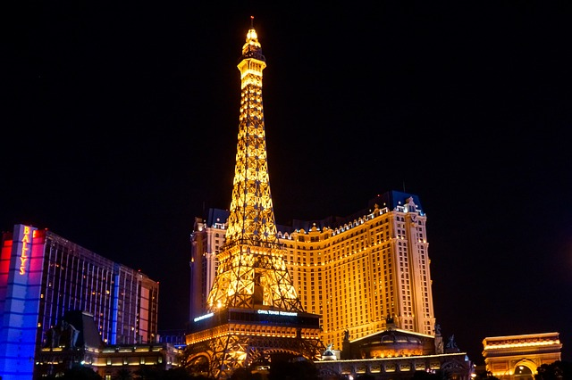 Fake Eiffel Power in Las Vegas at night lighted up with yellow lights