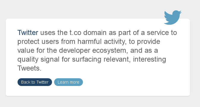 Twitter explain why it uses teh t.co URL shortener - for security, web dev and content discovery.