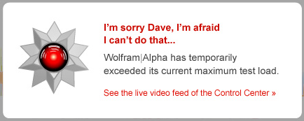 Wolfram Alpha error message using image from Odyssey 2001 movie of AI gone rogue called HAL