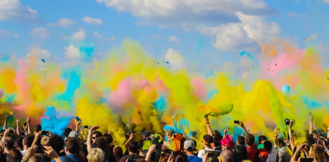 Colorful crowd on a festival.