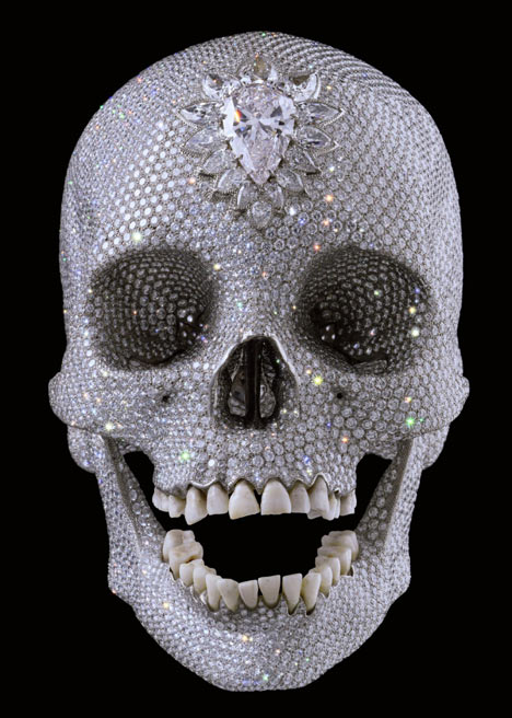Diamond covered human skull by artist Damien Hirst. It looks both scary and classy.