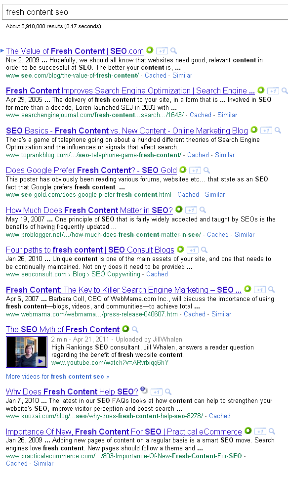 The search results for [fresh content seo] on Google. Plenty of posts seem to cover it.