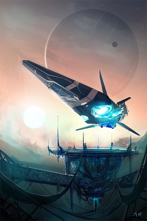 Futuristic space ship illustration: the ship is landing on platform, two moons are behind it, one huge, one small