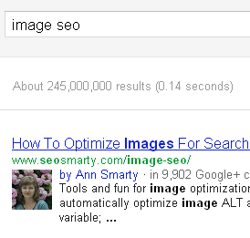 A Google+ share of the image SEO post by Ann Smarty