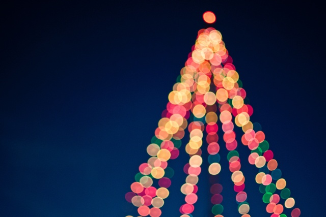 Christmas tree lights that are just a bit blurred.