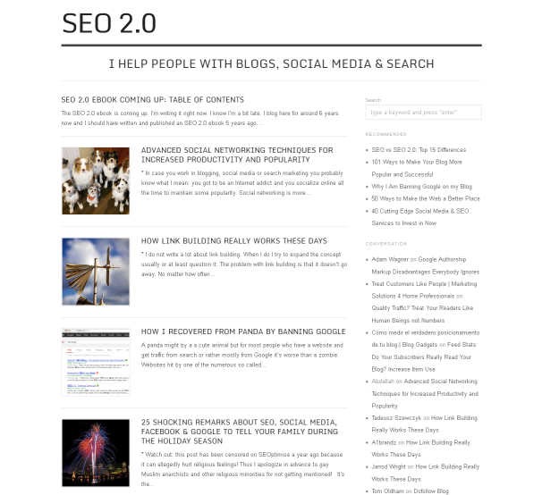 Screen shot of SEO 2.0 (this blog) using the clean and simple black and white Origin theme by Alien WP