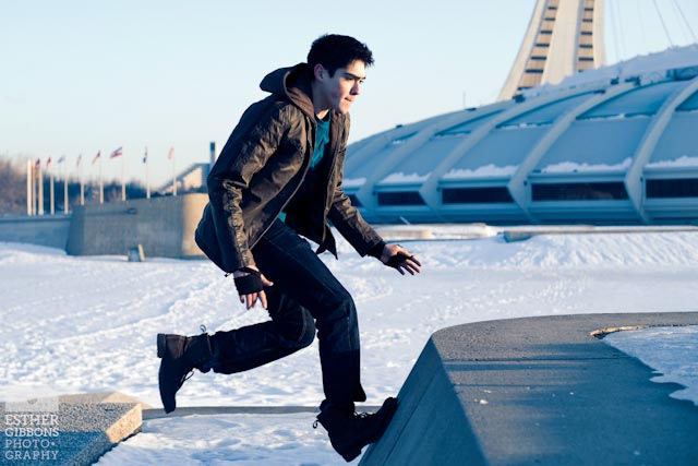 parkour in snow
