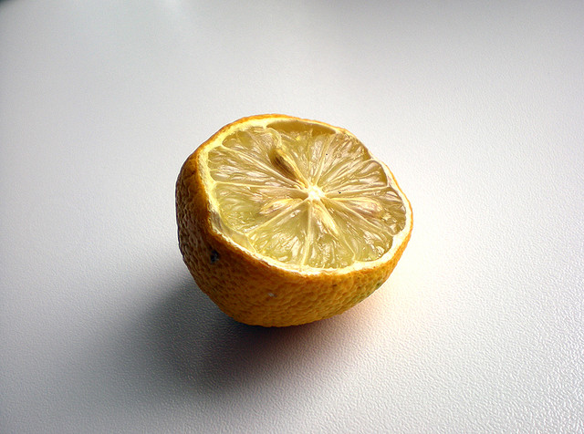 A stale lemon that is still yellow but inside already quite