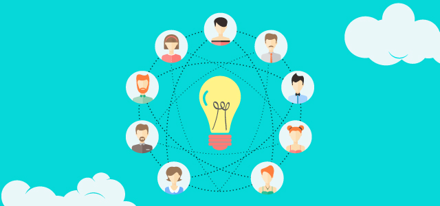 A light bulb graphic surrounded by lots of creative looking people who are interconnected.
