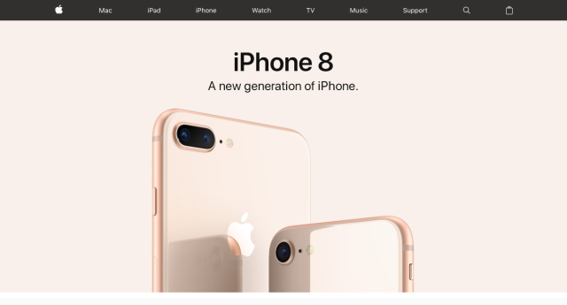 Apple website with lots of white space, featuring only a hero image of the iPhone 8