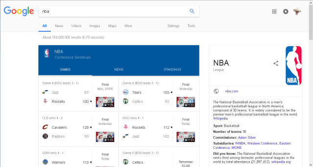 NBA-Google Search Results