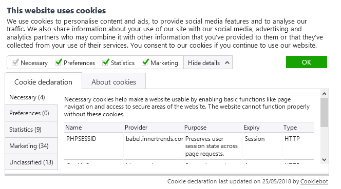 A wesbite ask for permission to use numerous cookies for all kinds of purposes. It's a dialog provided by Cookiebot.