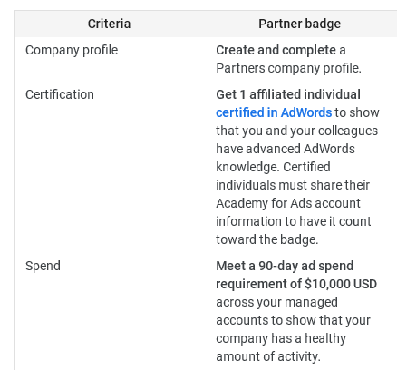 Google Partner requitements screen shot. Most importantly you need to buy at least 10.000$ worth of Google Ads each quarter.