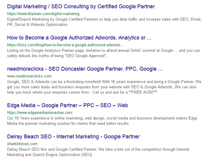 Search results for [google partner seo] showing many companies claming they are Google Partners when it comes to SEO.