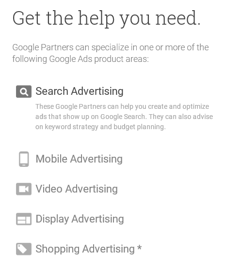 Screen shot from Google's Partner page. Partners specialize in several kinds of ads. No SEO mentioned.