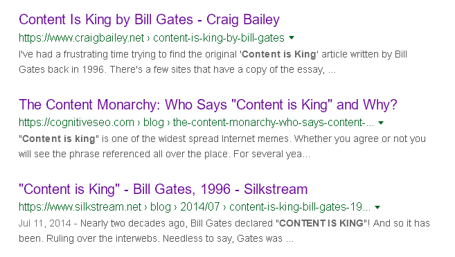 Top 10 rankings for [content is king] on Google in 2020. My article from 2011 is between two copies of the Bill Gates essay from 1996.