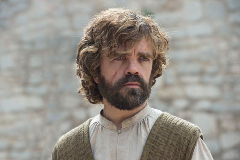 Tyrion Lannister in Game of Thrones showing a large scar on his face