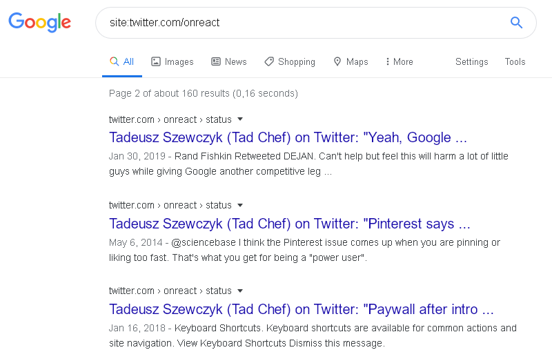 Google search for site:Twitter.com/onreact hsoing tweets from a few years.